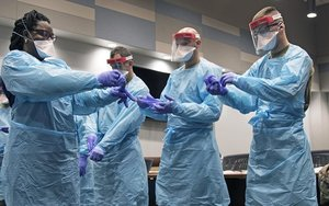 Medical personnel in protective gear