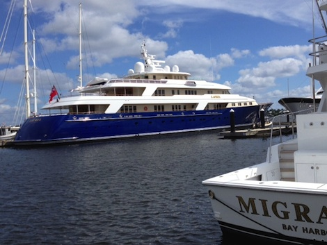 Laurel is one of the many superyacht currently undergoing work at Rybovich.