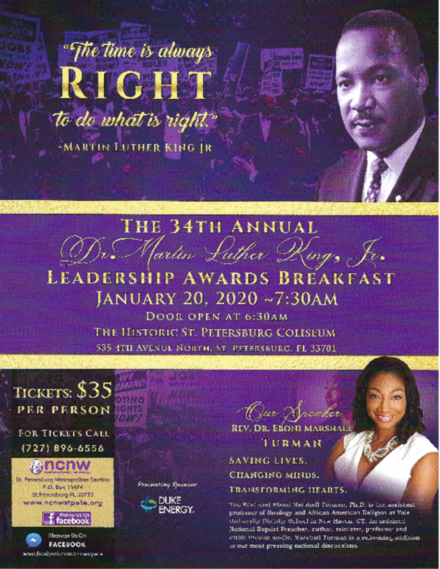 NCNW 34th Annual Dr. Martin Luther King, Jr.  Leadership Awards Breakfast