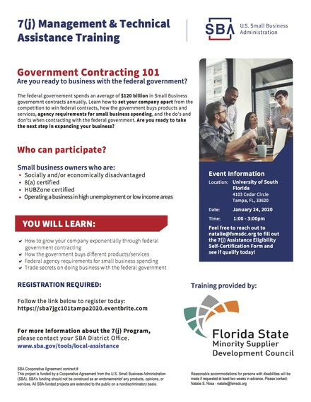 Government Contracting 101: are you ready to business with the federal government? January 24th