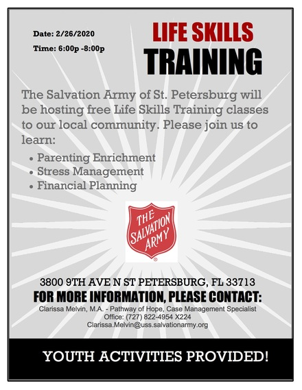 The Salvation Army of St. Petersburg is hosting a FREE Life Skills Training
