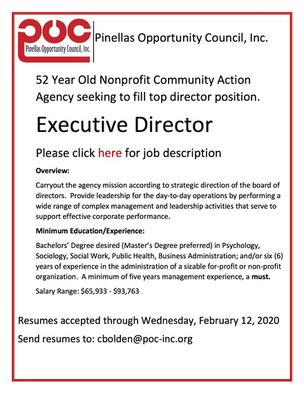 Pinellas opportunity council ed job announcement