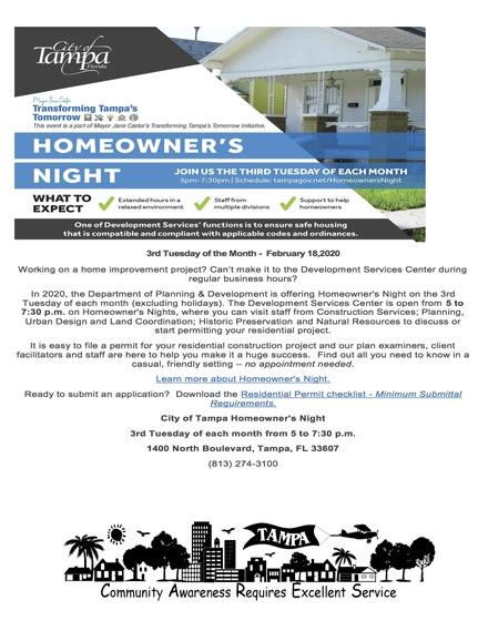 Homeowner's night flyer