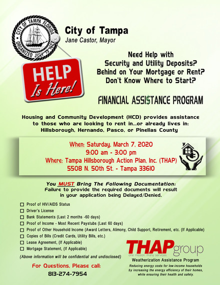 THAP Community Assistance Event and Program 2020