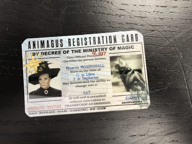Personalized Animagus Registration card