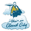 This is cloud city sticker mockup